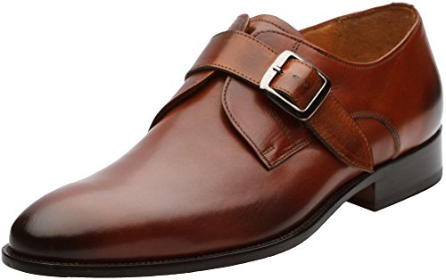 3DM Lifestyle Men's Single Monkstrap Modern Classic Leather Lined Perforated Dress Shoes Cognac