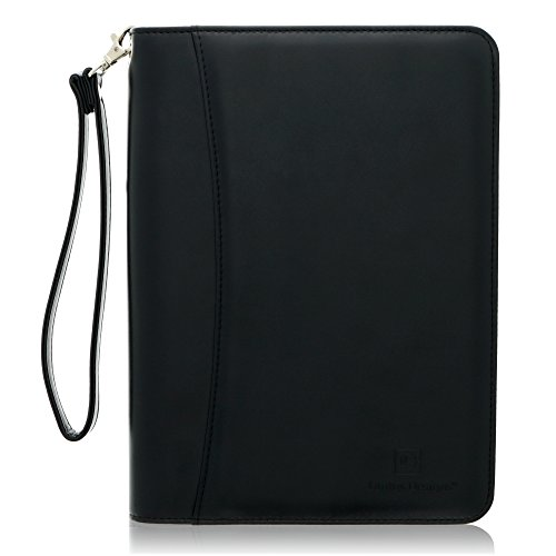 Junior Zippered Business Padfolio with 5x8 Notepad - Black Faux Leather A5 Binder Portfolio & Organizer Folder with 8 Inch Tablet Sleeve by Lautus Designs