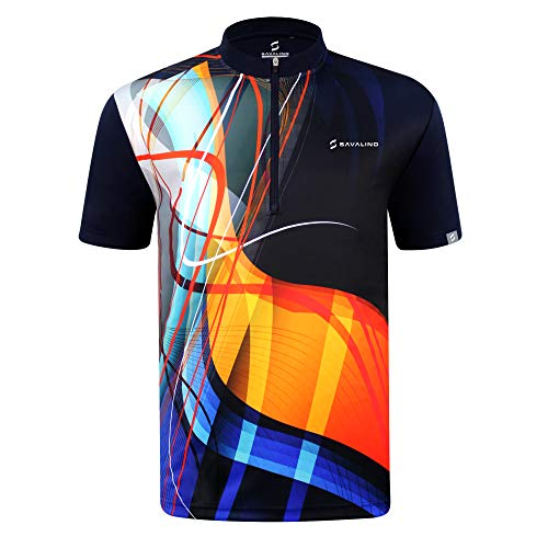 SAVALINO Men's Bowling Sublimation Printed Jersey, Material Wicks Sweat & Dries Fast (2XL, Navy)