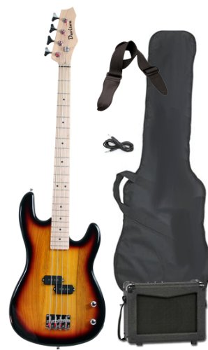 Davison Guitars Full Size Electric Bass Guitar Starter Beginner Pack with Amp Case Strap Package Vintage Sunburst Right Handed