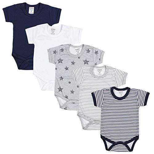TupTam Jungen Baby Body Kurzarm in Unifarben - 5er Pack, Farbe: Farbenmix 3, Größe: 74