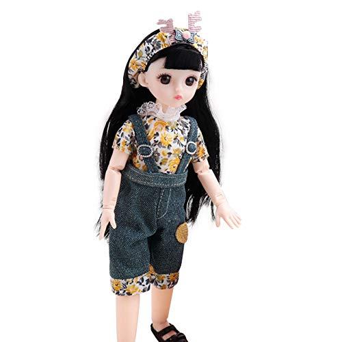 30cm Prinzessin Puppe Multigelenk Stehpuppe mit Langen Haaren & Augen, Spielzeug für Kinder ab 3 Jahren