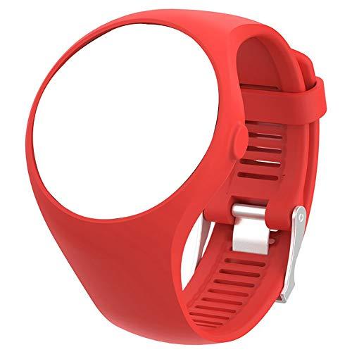 Amusingtao Correa de muñeca Banda universal portátil Correr con hebilla Pulsera de silicona suave Sport Case Accesorios de reloj inteligente Alfilón de reemplazo para Polar M200 (rojo)