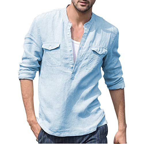 AmyGline T Shirt Herren Leinenhemd Langarm Einfarbig Vintage Tasche Langarmshirt Bluse Top Baumwolle Leinen Shirt Männer Henley Freizeithemd Sommer Hemd