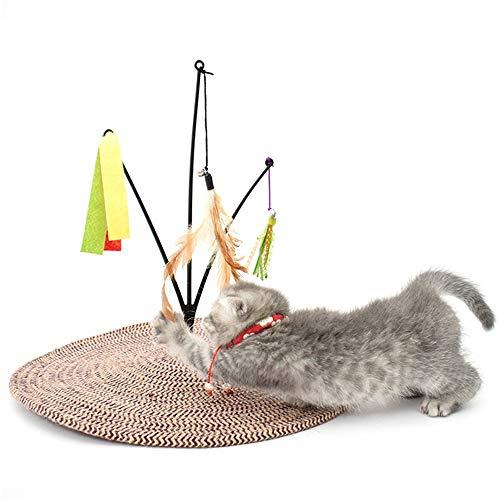 ETH Katzenkratzbrett Kreative Schaukel Baumwolle Seil Katzenkratzpad Federn Bett Sofa Lustige Glocke Ball Haustier Pfote Pflege Spielzeug Katze Kätzchen Scratcher Geschmack