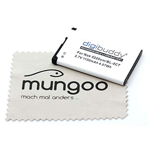 Batteria di ricambio per Nokia 3610 Fold 3720 Classic 5220 5630 6303 Classic C5 C6-01 (sostituisce la batteria originale BL-5CT) OTB con panno per la pulizia dello schermo mungoo