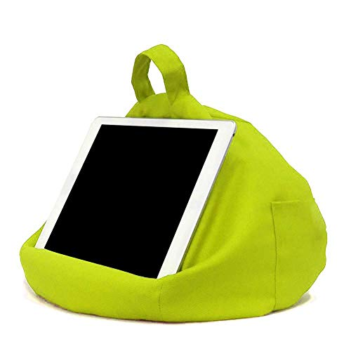 Bean Bag Holder for Tablets - Cushion and Stand with Side Pocket Compatible with iPad Tablet Mobile Phone eReader Book - Keeps Any Tablet Comfort Safe at Any Angle on Any Surface
