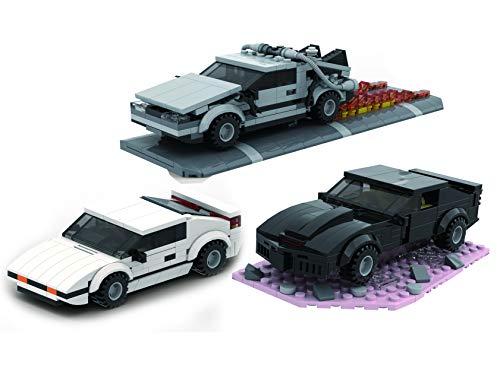 3 in 1 Set Bausteine Auto Movie Cars, Delorean,KITT,Agenten Auto, 774 Klemmbausteine