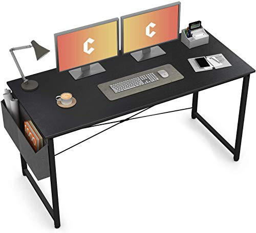 Cubiker Computer Desk 55 inch Home Office Writing Study Desk, Modern Simple Style Laptop Table with Storage Bag, Black