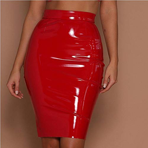 Frauen Pu Lederrock Office Faux Leder Bleistift Slim Packung Hüfte Stretch Plus Size Hohe Taille Bodycon Glänzende Röcke-Rot_2XL.