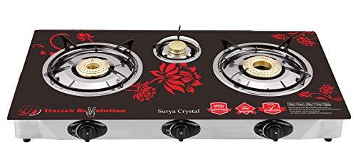 Surya Crystal SCR1004R 3 Burner Auto Gas Stove