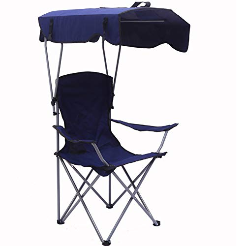 EXUVIATE Camp Chairs with Shade Canopy Chair Folding Camping Recliner Support 100kg, Blue, green, red, purple,Purple