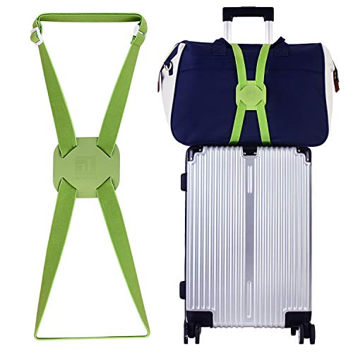 Luggage Straps Bag Bungees for Add a Bag Easy to Travel Suitcase Elastic Strap Belt (Green)