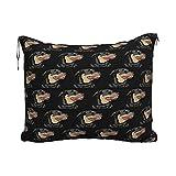 Manta de Almohada de Viaje Rottweiler Head Pattern Travel Blanket Pillow Set for Extra Comfort Portable with Luggage Strap...