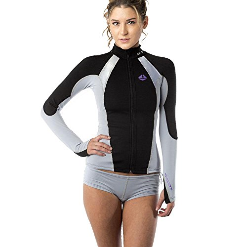 New Women's LavaCore Elite Stand Up Paddleboard (SUP) Jacket - Grey (Medium-Large) for Scuba Diving, Surfing, Kayaking, Rafting & Paddling