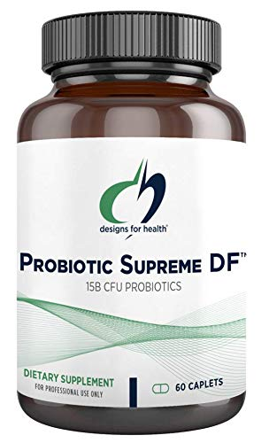 Designs for Health Probiotic Supreme DF - 15 Billion CFU Dairy-Free Probiotic with Acidophilus + Bifidobacterium Longum, GI + Immune Support Supplement or Adults, Men + Women (60 Caplets)