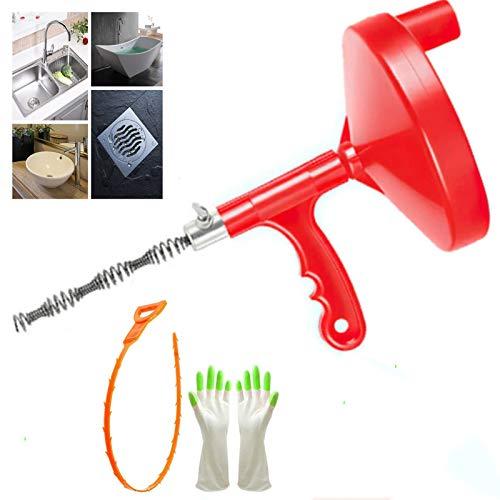 Espiral de limpieza de tuberías flexible de 25 m, desatascador de desagüe, para lavabo, ducha, herramienta de canalización con guantes y 1 paquete de serpiente de plástico