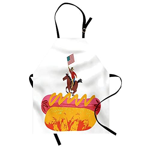 Mandil De Chef Vaquero, Equitación, En, Un, Perrito Caliente, Y, Estilo Texano, Estados Unidos De América, Ilustración Delantal Cocina Fácil De Limpiar Mandil Cocina para Jardín Pandería 52X72Cm
