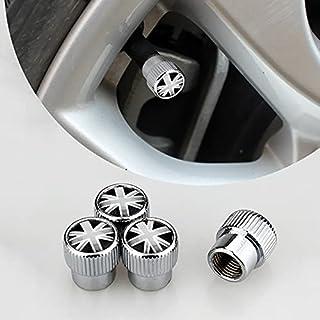 HIBEYO Set van 4 bandenventieldoppen zinklegering stofkappen voor autobanden, autobanden, ventieldoppen, ventieldoppen, st...