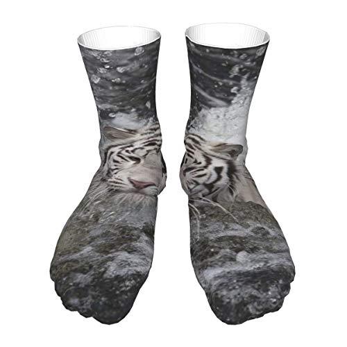 Natación Blanco Tigre Calcetines Casual Mujeres y Hombres Caliente Grueso Rendimiento Cosplay Calcetines