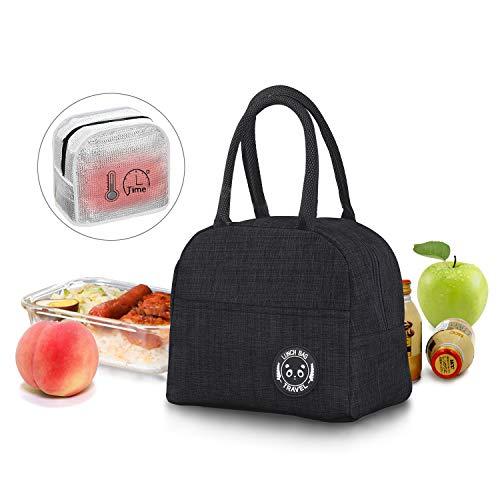 JEEZAO Klein Leicht Lunch Tasche,Kühltasche Isoliertasche zur Arbeit Schule,Picknick,Faltbar Wasserdicht Reißverschluss 6L (Schwarz)