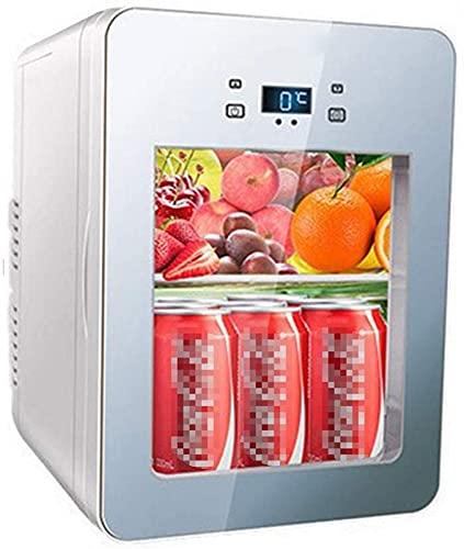 Refrigerador de Coche Beauty Skin Care Mini Refrigerador/Refrigerador de cosméticos portátil, Refrigerador pequeño con LED + Panel de Vidrio, para Maquillaje y Cuidado de la Piel, para Bar