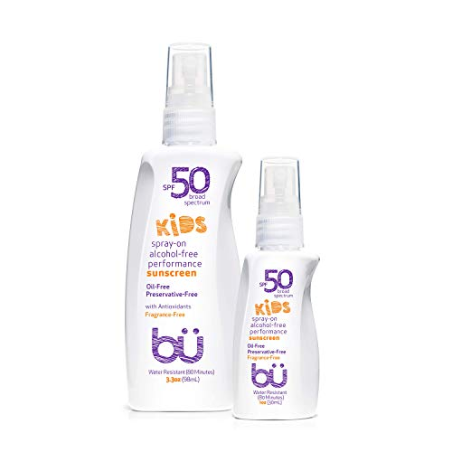 Sunscreen Spray Kids SPF 50 by Bu Value Pack - Travel Size Organic Biodegradable Sun Block for Sensitive Skin - Fragrance-Free, Oil-Free, Non Greasy, Non Comedogenic, Water-Resistant (1 + 3.3 Ounce)