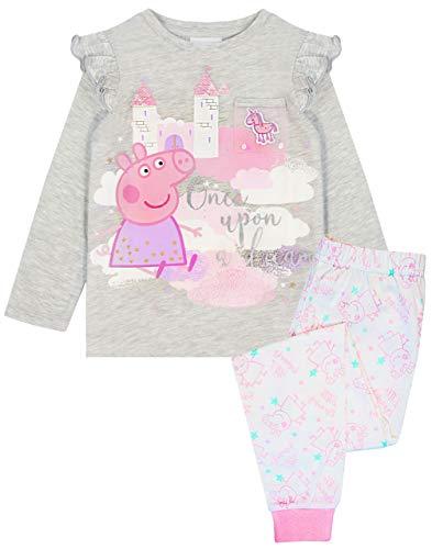 Peppa Pig Pijamas para niñas Mesh Pocket Grey Pink Glitter T-Shirt & Legging PJ