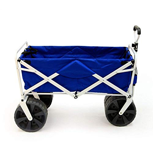 Meda | Collapsible Folding All Terrain Utility Beach Wagon Cart, Heavy Duty-(Blue/White)