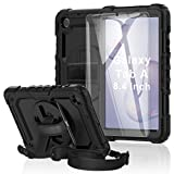 Samsung Galaxy Tab A 8.4 SM-T307/SM-T307U Case, BASE MALL [Kid Proof] Full Body Protective Case with 9H Tempered Glass Screen Protector, Rotating Kickstand/Hand & Shoulder Strap/S Pen Holder (Black)