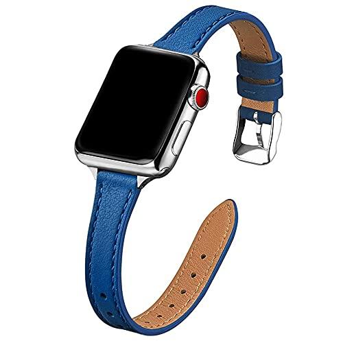 Livronic Para Apple Watch 6 SE, 40 mm, 44 mm, correa de piel delgada para iwatch series 6, 5, 4, 3, 38 mm, 42 mm, correa fina para mujer (Color de la correa: azul, ancho de la correa: SE 44 mm)