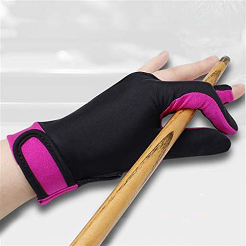 AMZH Lycra/Silicona Guante de Tres Dedos de Billar Respirable Cómodo Guantes de Billar se Puede Llevar en la Mano Derecha o en la Mano Izquierda (Tamaño: L/M)