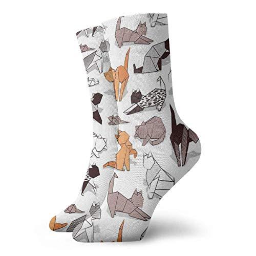 Origami Gatito Amigos Fondo Blanco Calcetines de Papel Gatos Calcetines Clásicos Ocio Deporte Calcetines Cortos 30cm/11.8inch Adecuado para Hombres Mujeres