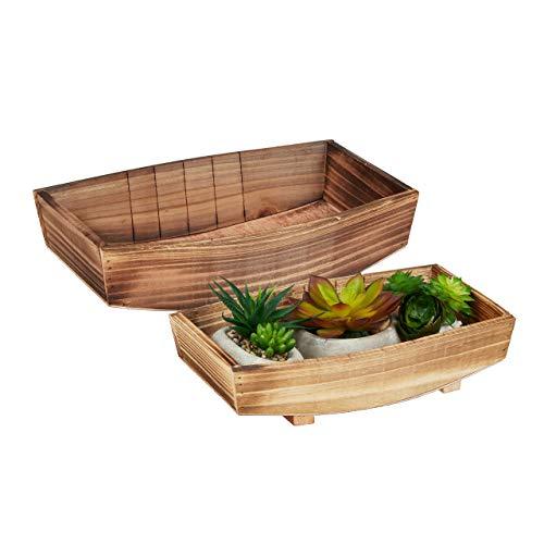 Relaxdays Dekoschale, 2 Stück, geflammtes Holz, Gartendeko zum Bepflanzen, Vintage Design, eckiges Pflanzengefäß, Natur