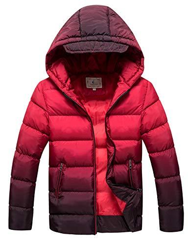 Echinodon Jungen Winterjacke mit Kapuze Wasserdicht Winndicht Kinder Verdickte Jacke Winter Herbst Steppjacke Rot 160