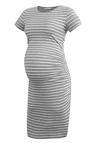 Smallshow Vestido de Maternidad de Manga Corta para Mujeres Ropa Fruncida para Embarazadas,Light Grey Stripe,S