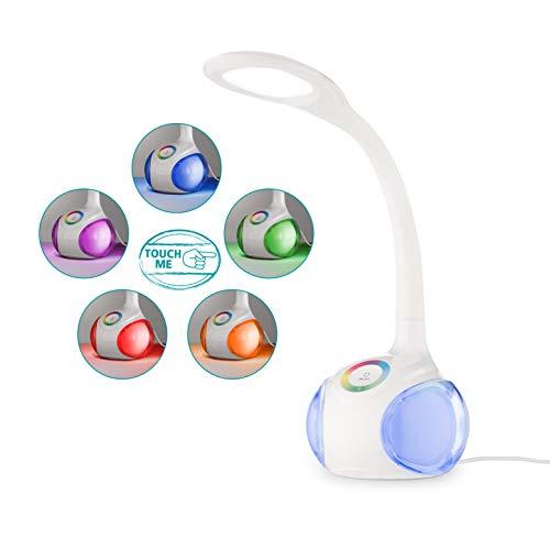 EGLO LED Tischlampe Arcones, Tischleuchte mit Touch, neutralweiß, dimmbar in Stufen, Lampenfuß mit RGB Farbwechsel, Schreibtischlampe Kinder aus Kunststoff in Weiß, LED Nachttischlampe