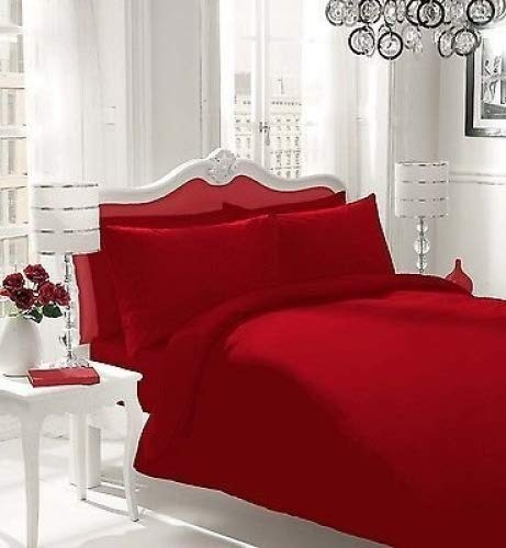 WOT NON IRON Parcale Plain Dyed Duvet Cover & 2 Pillow Cases Bed Set (Red, Single)