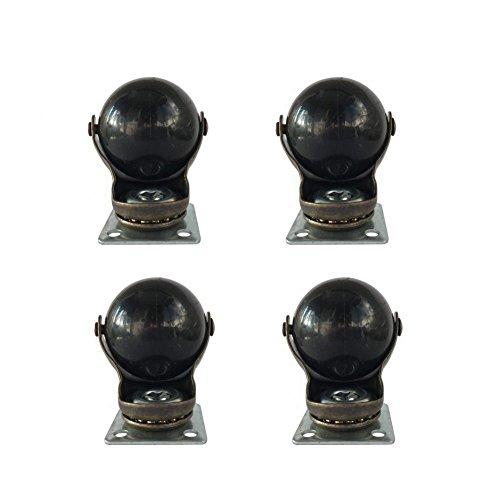 ktroman Lot de 4 5,1 cm (50 mm) Doré Antique Boule Roulette à 360 degrés Top Plate Swivel Caster Chaise de Bureau PC Bureau de Roue Roues pour Petit Canapé Meubles de Remplacement