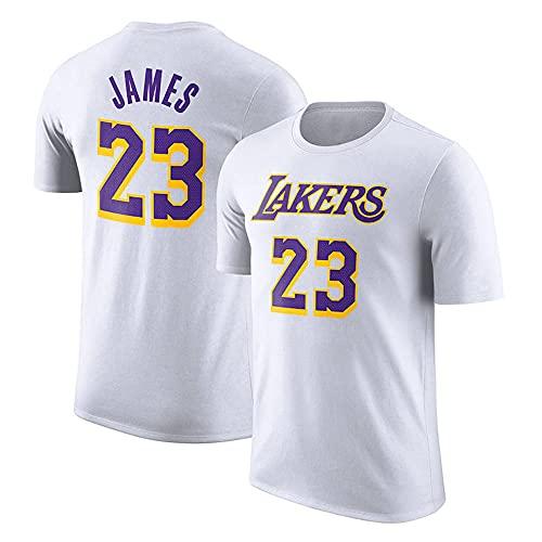 Camisetas para Hombre, Los Angeles Lakers # 23 Lebron James NBA Basketball Camisetas Chalecos Deportivos Y De Ocio Tops Y Camisetas De Manga Corta,Blanco,XL(175~180CM)