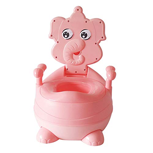 Bimbi Vasino Bimbo Vasetto WC Modello Animale Toilette di Viaggio Portatile Design Divertente per Bambini Schienale Ergonomico Alto Confortevole e Robusto,Pink
