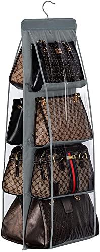 Organizador de armario para bolsos con 8 compartimentos cuelga bolsos de mano estanteria colgante de tela Almacenaje armario ropa zapatos toallas bufandas