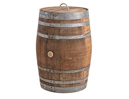 Temesso Regentonne mit Deckel, Regenfass Holzfass, Weinfass, Tonne, Eiche 225 Liter Wasserfass - original Fass (Deckel Kordel/Seilgriff)