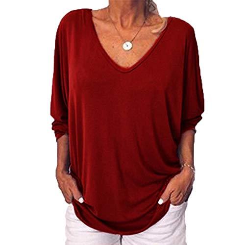 Camiseta Mujer Nuevo Cuello en V Murciélago Manga Siete Cuartos Botón Trasero Top Holgado