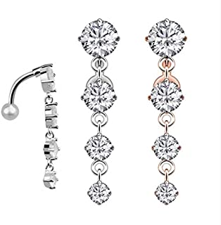 Body Piercing Women Surgical Steel Belly Button Bar Crystal Dangle Navel Ring