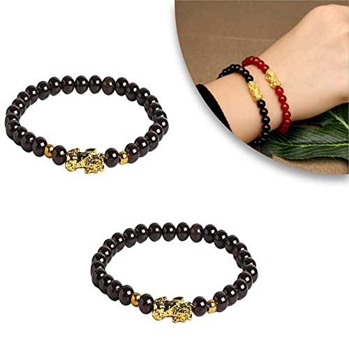 (2piezas) Pulsera Adelgazante Granate -Pulsera Triple Protección, Difusor de la yoga de Reiki del alivio del estrés de las mujeres de los hombres de la piedra natural del cristal de la ansiedad (B)