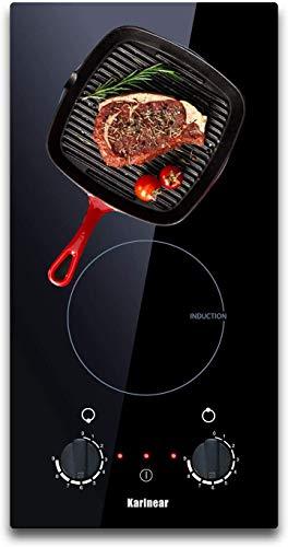 Karinear Induktionskochfeld, 30cm elektrisches Kochfeld mit 2 Kochzonen, elektronische Knopfsteuerung, Restwärmeanzeige, 3200W