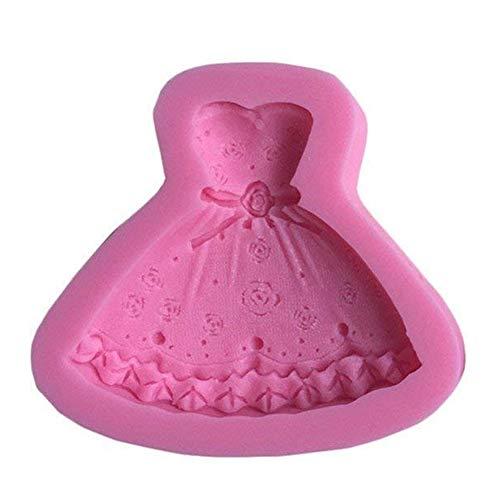 Robe Princesse 3D Moule en Forme de Moule en Silicone gâteau Fondant décoration de gâteau Outils Outils et Accessoires de Cuisine-Rose Rose