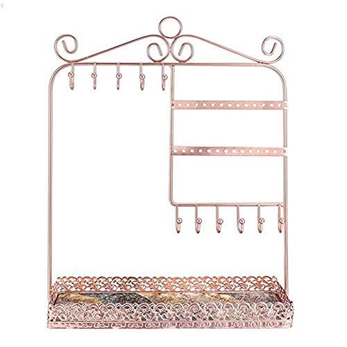 HLSUSAN Soportes para Joyas - (25x10x33cm) Soporte Expositor de Joyas Metal con contenedor Rectangular,Organizador Colgante de Pared para Collares, Pendientes Organizador de Pendientes,Rose Gold