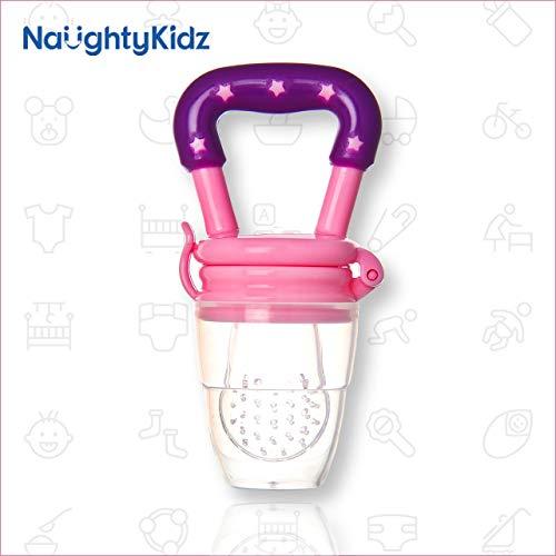 Naughty Kidz Baby Food Feeder||Fruit Feeder Pacifier||Fruit Nibbler-Best Toy Fruit Teether||Soft Silicone Fruit Teether for Babies||Fridge & Dishwasher Safe||100% BPA-Free Teether (Pink)